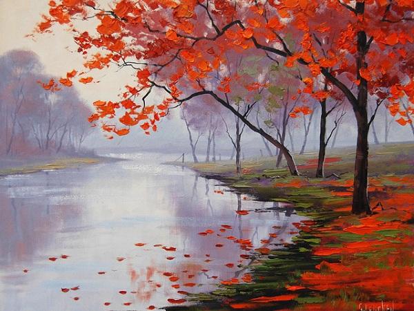 картина Река и осень.