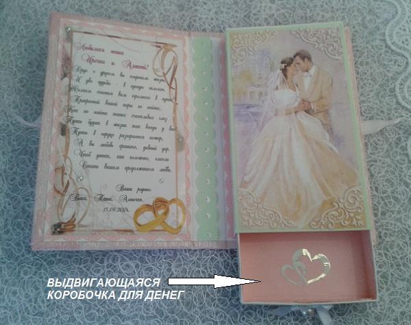 Свадебная открытка с коробочкой для денег