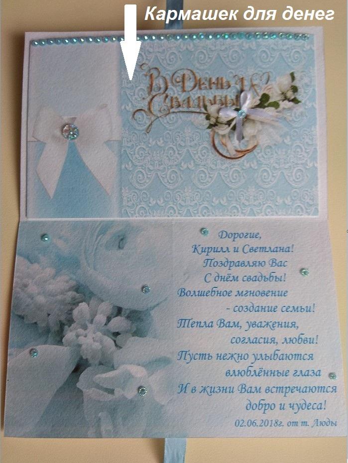 Как подписать открытку с деньгами на свадьбу пример